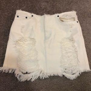 Carmar white denim mini skirt